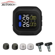 [Genuine]Waterproof TPMS Motorcycle Real Time Tire Pressure Monitoring System USB Wireless LCD Display 2 External WI Sensor(China)