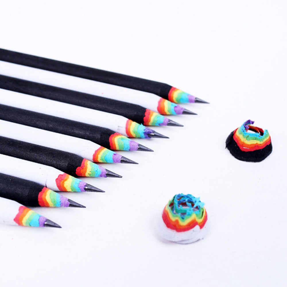 Black And White Wood Set Rainbow Pencils School Office Stationery  1 Count Rainbow Pencil 2019 New Office Furniture Sets #ZH