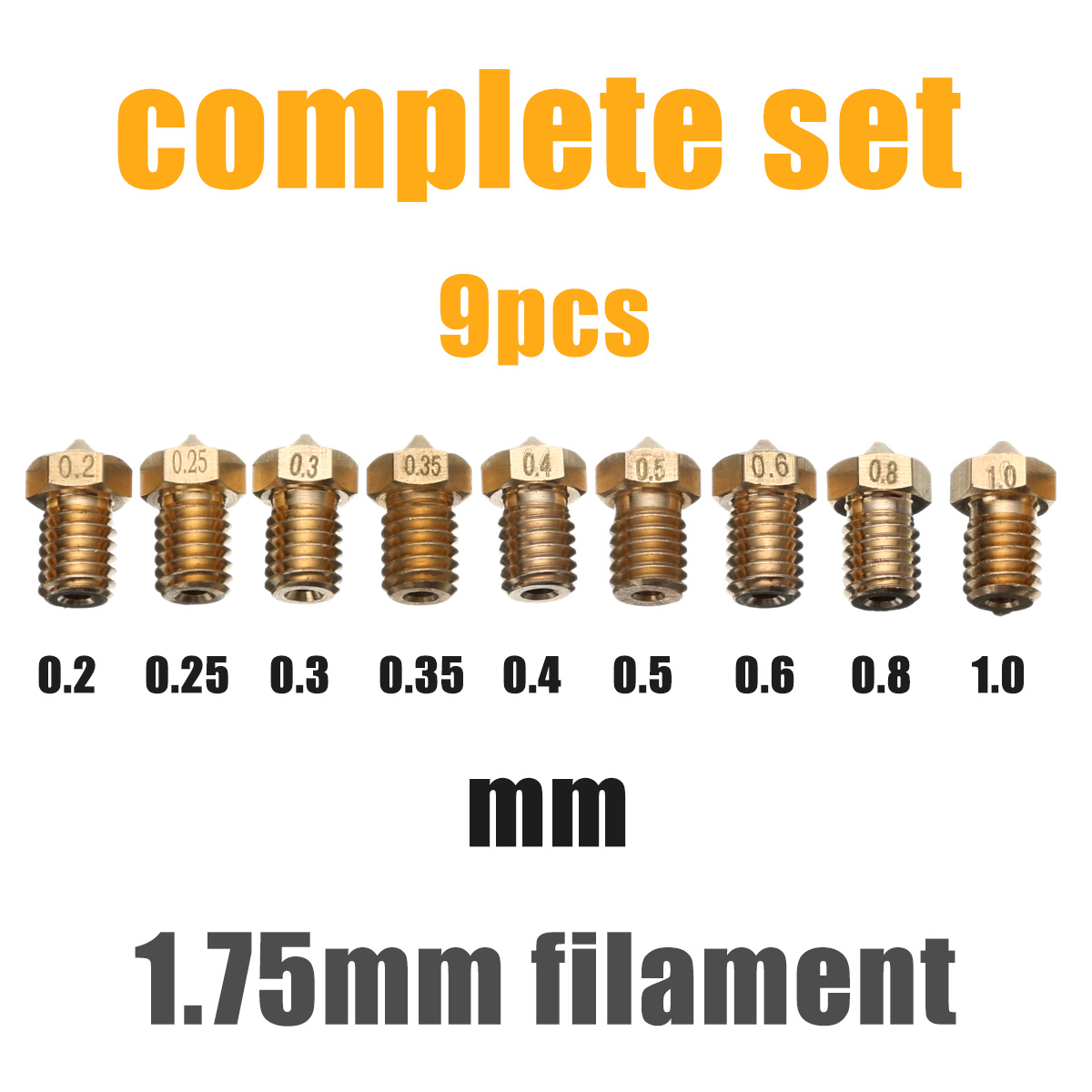 Mayitr 9pcs 1.75mm Filament Extruder 3D Printer Accessories Nozzle Set for 3D V6