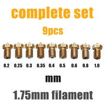 Mayitr 9pcs 1.75mm Filament Extruder Nozzle 3D Printer Accessories Set for V6 J-Head&MK8 Makerbot Part