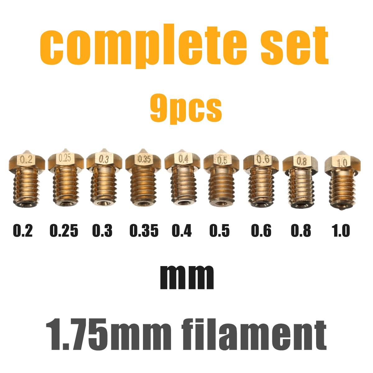 Mayitr 9pcs 1.75mm Filament Extruder Nozzle 3D Printer Accessories Nozzle Set for 3D V6 J-Head&MK8 Makerbot 3D Printer Part