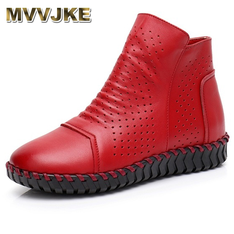 MVVJKE Women Boots Genuine Leather Ankle Boots Hollow Summer Boots Chaussures Femme Comfortable Flat Women Shoes Large Size mvvjke 2018 spring summer new bow genuine leather women boots hollow mesh ankle boots comfortable low heels fashion shoes