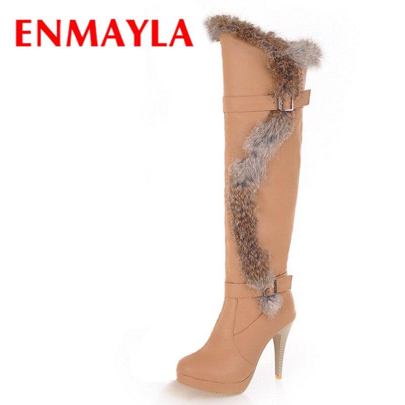 ENMAYLA nouvelle mode sur genou bottes hautes femmes talons aiguilles plate-forme bottes chaussures bout rond fourrure boucle femmes bottes longues
