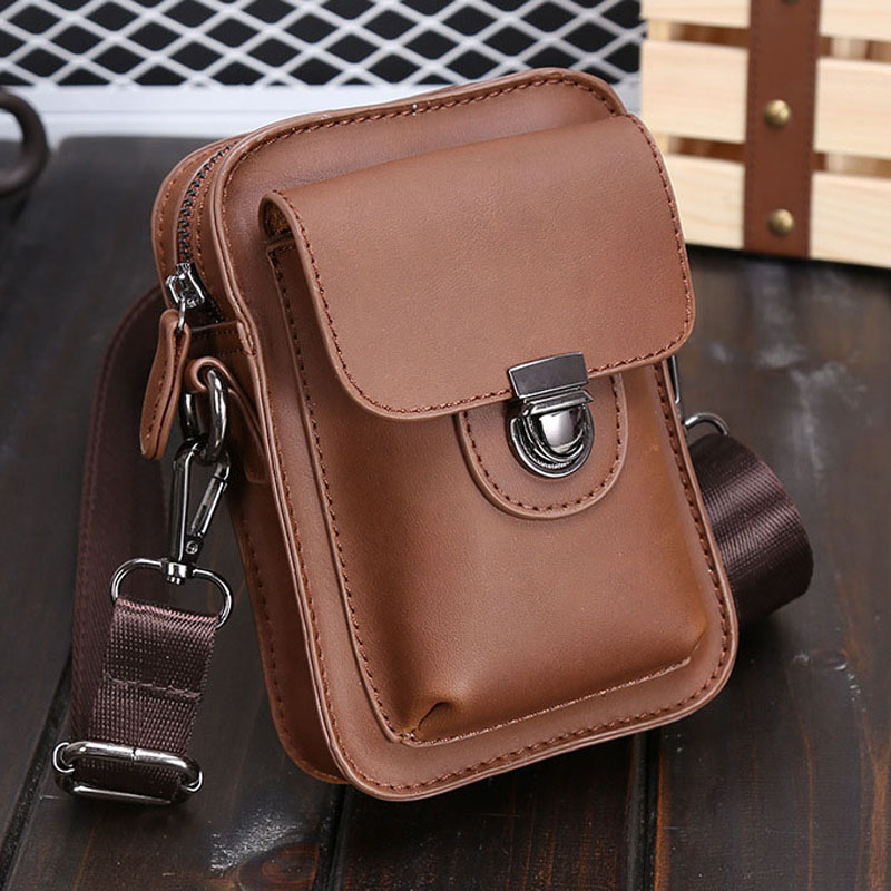 Crazy Horse Leather Men Shoulder Bag High Quality Fashion Phone Pocket Male Bag Brand Casual Vintage Shoulder Bags for Men 2018