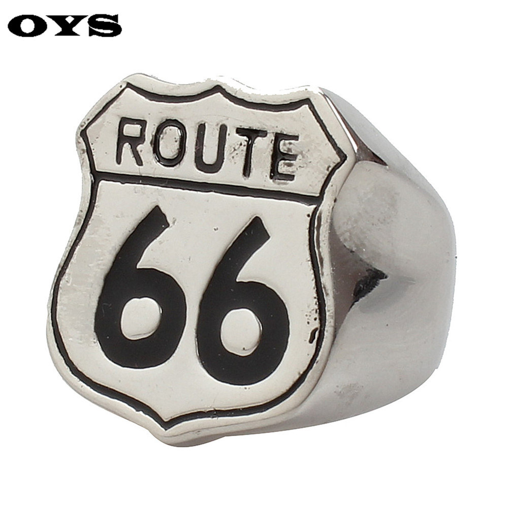 Newest Good Quality US Highway 66 All-Match Offbeat Jewelry Ring Man Personality Stainless Steel Titanium Rings G510A7