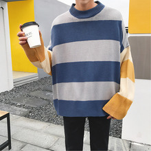 Autumn Winter New Men's Sweater Warm Fashion Contrast Color Stitching Loose Large Size Casual Long-sleeved O-neck Pullover Man