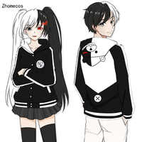 Adult Unisex Anime Danganronpa Monokuma Katoen Hooded Jas Kostuums Cosplay Voor Vrouw Man Pluz Size