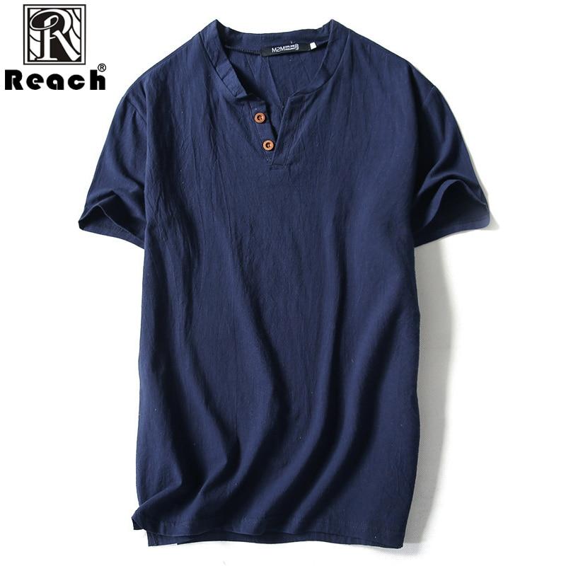 reach Cotton Linen T Shirt Men Plus Size Men T Shirt Short Sleeve White Summer V Neck Short Sleeves Cotton High Quality Casual white short sleeve v neck asymmetric t shirt
