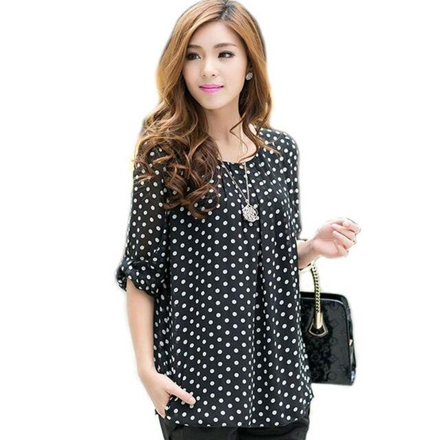 Mulheres chiffon blusa camisas das mulheres polka dot blusa 3XL 4XL 5XL blusas tamanho grande blusas roupas plus size xxxl xxxxl xxxxxl WD015