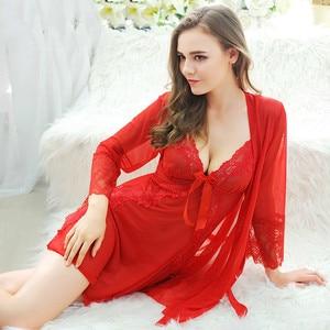 Image 3 - Bathrobe dressing gown Weight 40 70kg plus size Robe setsBathrobe women Lingerie  robe femme sleepwear robe