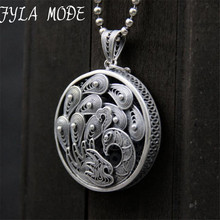 Fyla Mode 100% Real 999 Sterling Silver Jewelry Retro Peacock Necklace Pendant for Women 34MM 12.30G TYC267
