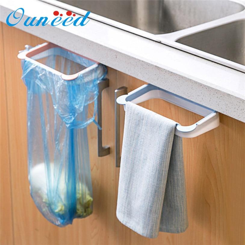 Ouneed organizer Hanging Kitchen Cabinet Door Trash Rack Style Storage Rack Garbage Bag Holder u6912 DROP SHIP