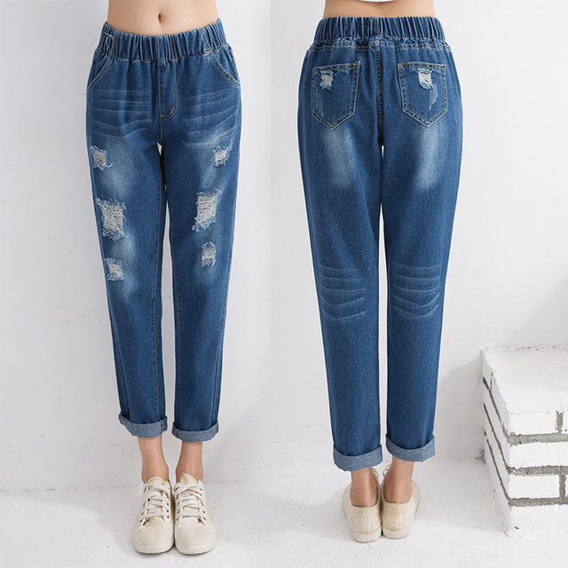 Aliexpress.com : Buy Summer Style Women Ripped Denim Capri Pants ...