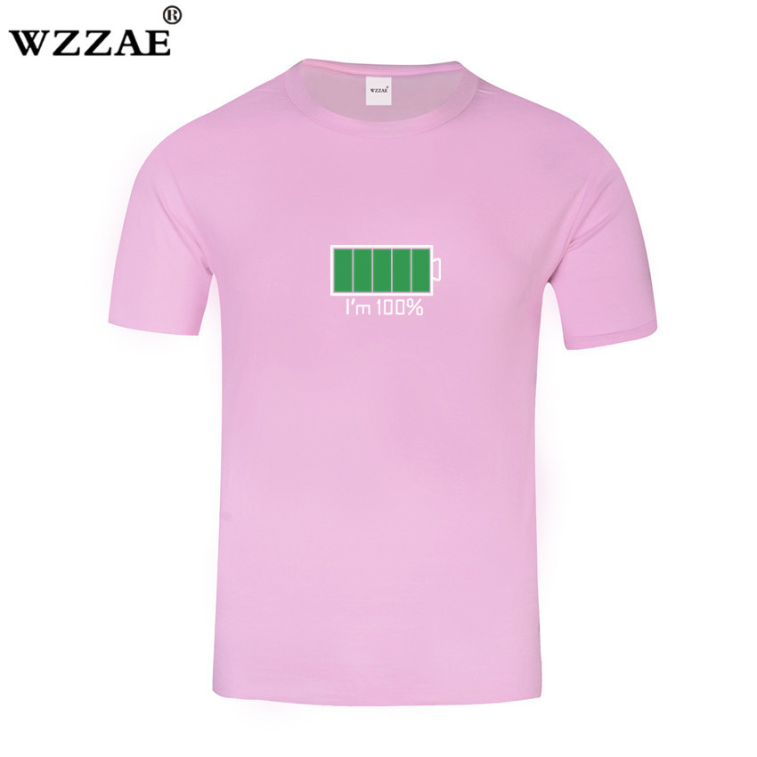 WZZAE 2018 Full Battery Android Creative Men T-shirts Energy Cotton Tee shirt Homme Classic Blouse Fitness Clothes Men's T shirt 3