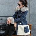 M-2XL 2015 New Winter Women Long Denim Jackets Female Cotton-padded Fur Collar Hooded Velvet Coat Horn Button Overcoat ZS535