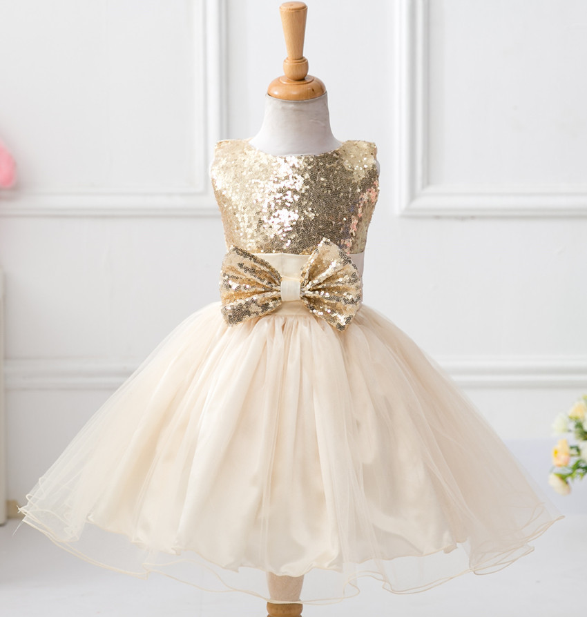 2016 Summer Style Girl Dress Kids Clothes Children Clothing Girl Beautiful Sequin Bow Red Blue Baby Girls Dress Gril Party Dress