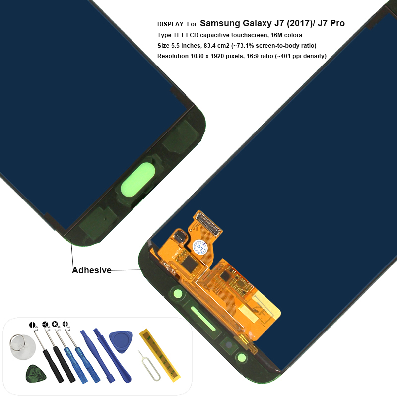 Adjustable J730F J730GM J730G J730 Display with Adhesive tool replacement for Samsung Galaxy J7 Pro LCD touch screen assemblyAdjustable J730F J730GM J730G J730 Display with Adhesive tool replacement for Samsung Galaxy J7 Pro LCD touch screen assembly