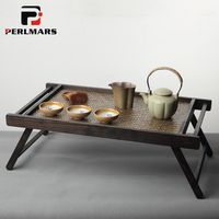 Japanese Style Solid Wood Bamboo Weaving Tea Table vintage Folding Tray Storage Folded Desk Home Office Coffee Furniture Teaware