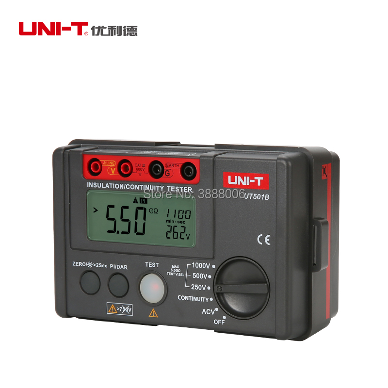 UNI-T UT501B Digital Insulation Resistance Meter Ground Megohmmeter Voltmeter 1000V Lcd Backlight Digital Earth Tester Megger uni t ut501b insulation resistance testers auto range lcd backlight high voltage indication