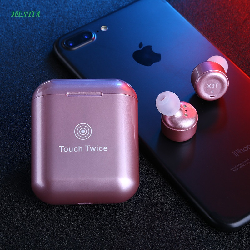 HESTIA True Wireless Earbuds TWS X3T Mini Auriculare Bluetooth X2T In ear Earphone With 600mAH Charger Box for Android IOS Phone 2 in 1 wireless bluetooth earphone