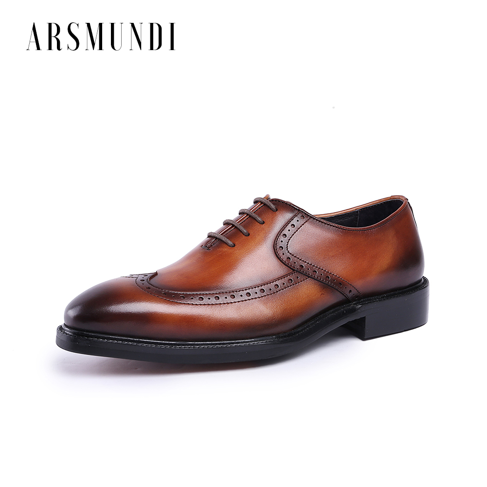 Men Genuine Leather Dress Shoes Oxfords Cowhide Leather Lace-up Pig Inner Round Toe Wedding Business Shoes 2018 NewMen Genuine Leather Dress Shoes Oxfords Cowhide Leather Lace-up Pig Inner Round Toe Wedding Business Shoes 2018 New