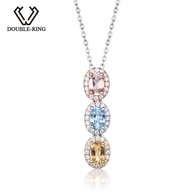 Double r natural stone amethyst blue topaz morganite necklaces double r natural stone amethyst blue topaz morganite necklaces pendants solid 925 sterling silver aloadofball Gallery