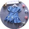 Niña vestidos 2016 niños del otoño ropa niños de la princesa vestido de los niños vestidos para las niñas ( clothes + bolsa ) 2 sets