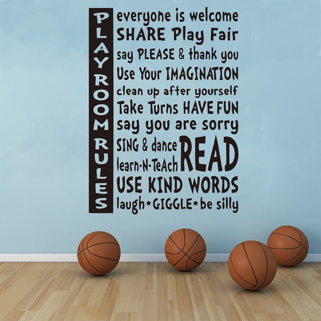 80x60cm playroom rules wall quote decal kids playroom wall stickers