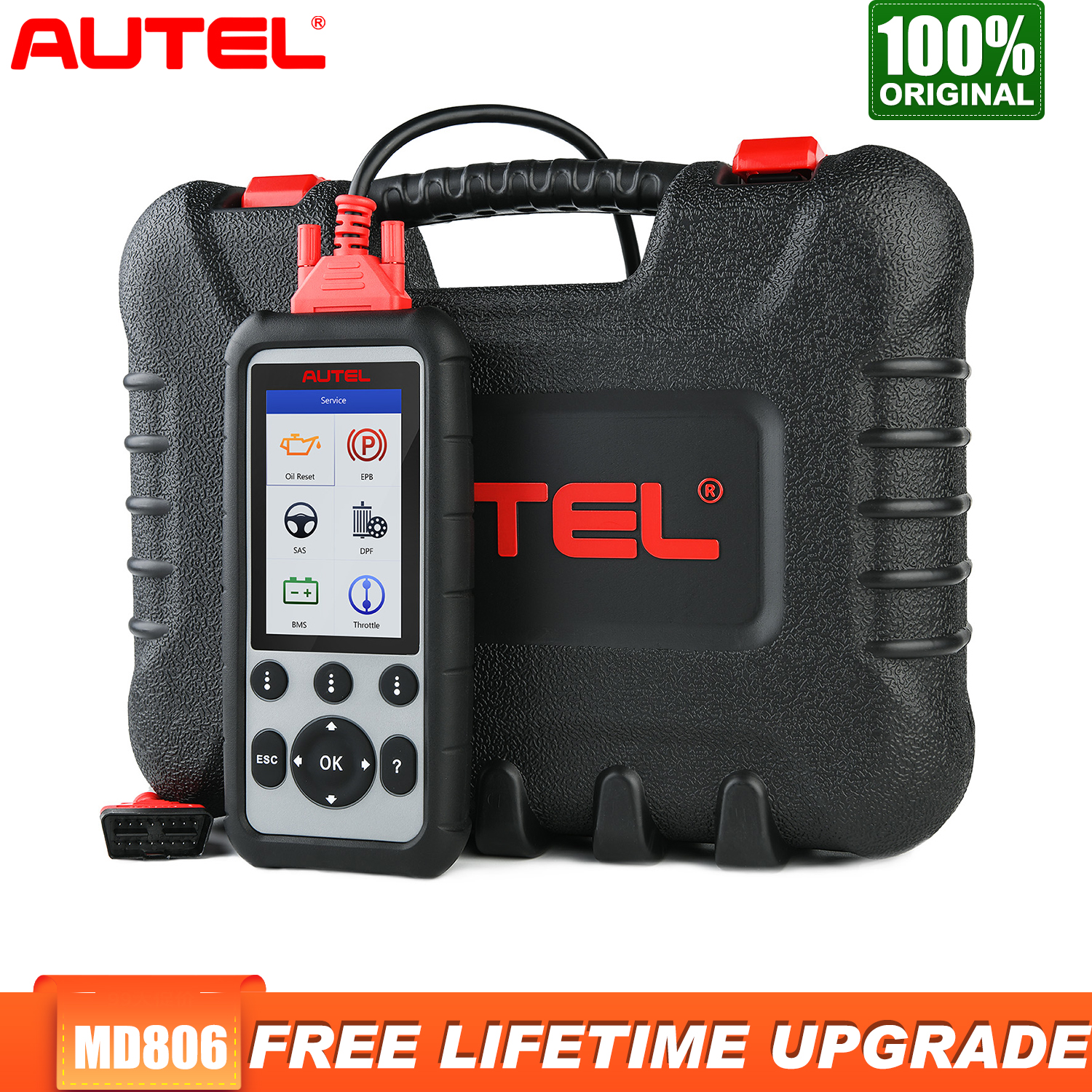 Autel MD806 Obd2 Scanner Diagnostic Auto Tool Car Diagnostic Four System Diagnoses EPB/Oil Reset/BMS DPF Batter Than MD805 MD802 image