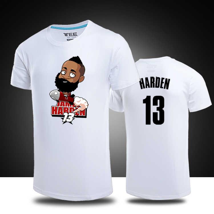 new concept a7c3a 9b426 James Harden cartoon Logo T-shirts Harden jersey Mens t-shirt Basketball  Jersey Genuine Sports Shirt hip hop t shirt