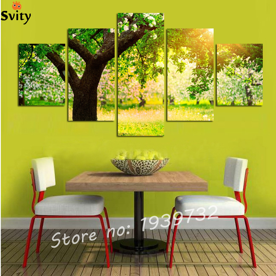 Closeout 5 Panel Green tree Painting Canvas Wall Art Picture Home ...