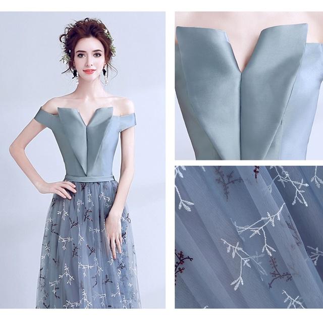 Grey Blue Lace Satin Evening Dress Off shoulder Gowns Formal Wedding Party Dresses vestido longo de festa
