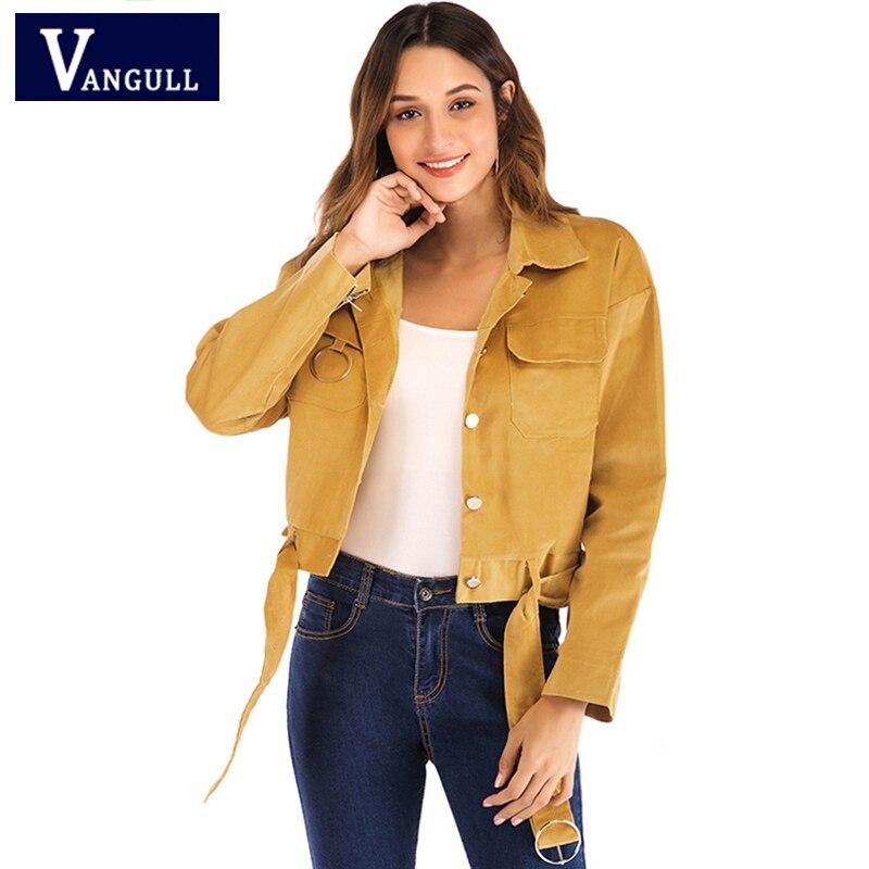 Mode décontracté automne femmes vêtements simple boutonnage Slim court vestes manches longues velours côtelé solide ceintures vêtement d'extérieur pour femmes