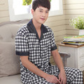 Pajamas Men 100% Cotton Pajama Thin Summer Classic Plaid Short-sleeved +Trousers Pyjamas Men Lounge Loose Pajama Set 4XL/5XL