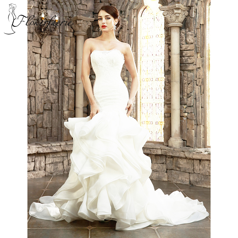 Trumpet Wedding Dresses With Ruffles : Lace elegant trumpet sweetheart ruffles court train wedding dress