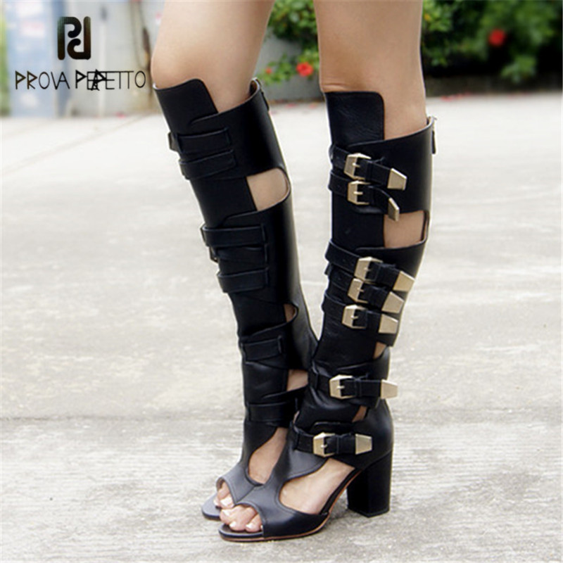 Prova Perfetto Summer Boots Chunky High Heels Straps Hollow Out Women Knee High Boots Peep Toe Gladiator Sandals Ladies Shoes prova perfetto autumn new arrived 2018 women zip knee boots look thin look tall hollow out temperament thick heels boots 34 40