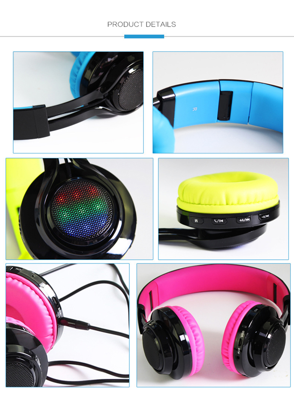 Bluetooth Headphones Wireless Foldable Headphones with Mic Support TF Card FM Radio Cellphones TV PC Headset LED Light Earmuffs