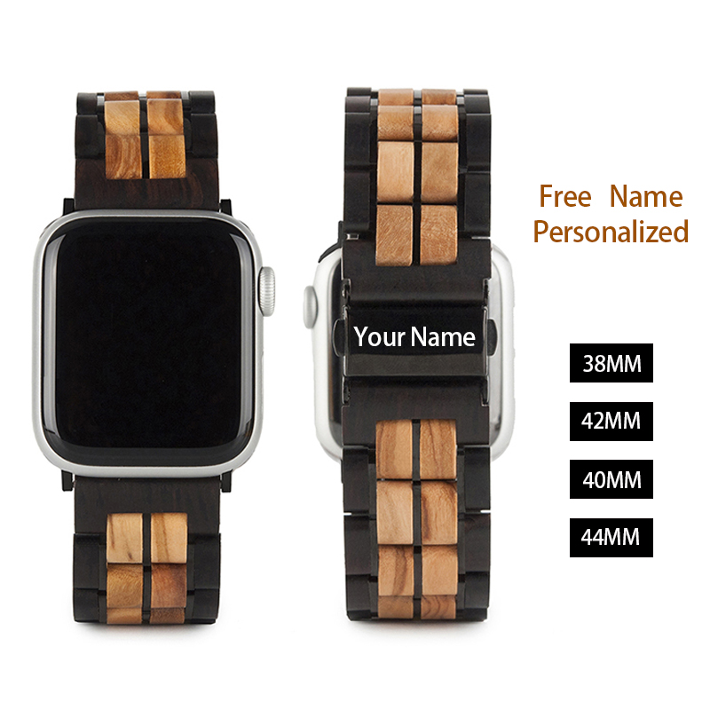Replacement Wood Band for Apple Watch 4 Band Series 1/2/3