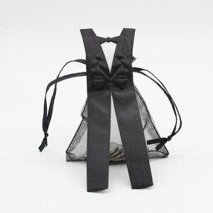 Image 4 - Bolsa de caramelos de Organza con cordón, 50 x esmoquin y 50 x vestido, novia, novio, favores de boda, bolsa de regalo para fiestas WB06, 100 piezas