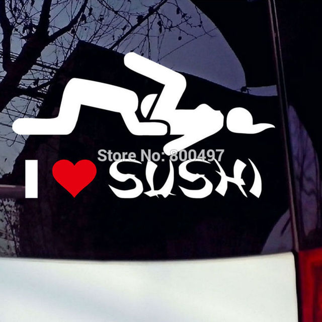 New Design Funny I Love Sushi Creative Auto Decal Cartoon Car - Graphic design stickers for cars