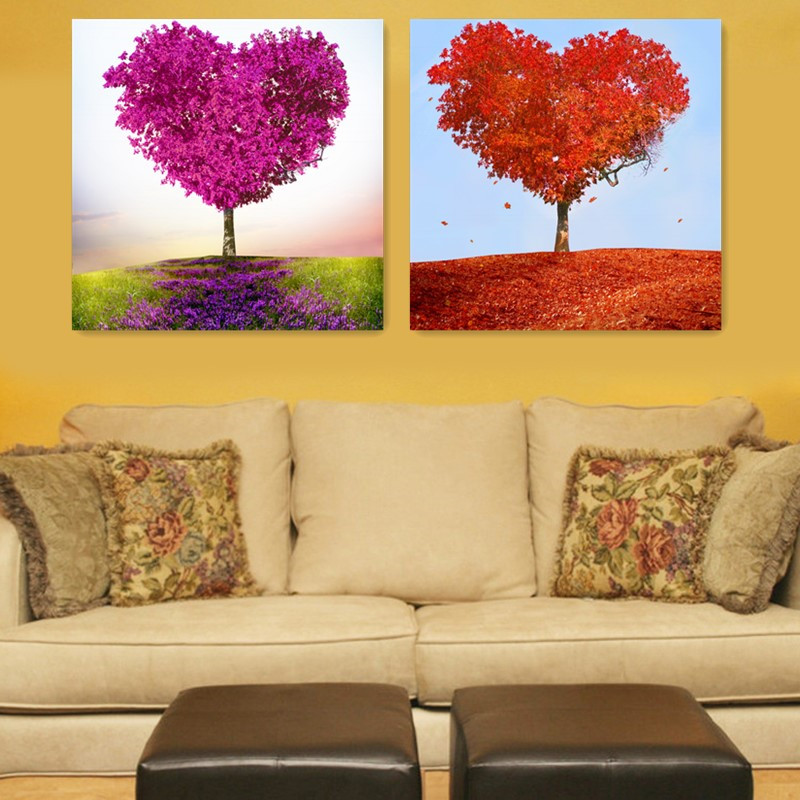 2 panels canvas printings red purple heart trees wall art canvas ...