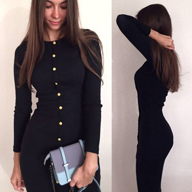 Young17 bodycon sweater dress red black gray long sleeve knitted button o neck women sexy elegant sheath new girl bodycon dress