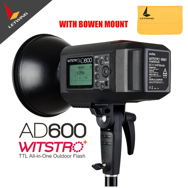 2016 Newest Godox Wistro AD600B TTL All-in-One Powerful Outdoor Flash with 2.4G X System Build-in 8700mAh Li-on Battery Free DHL