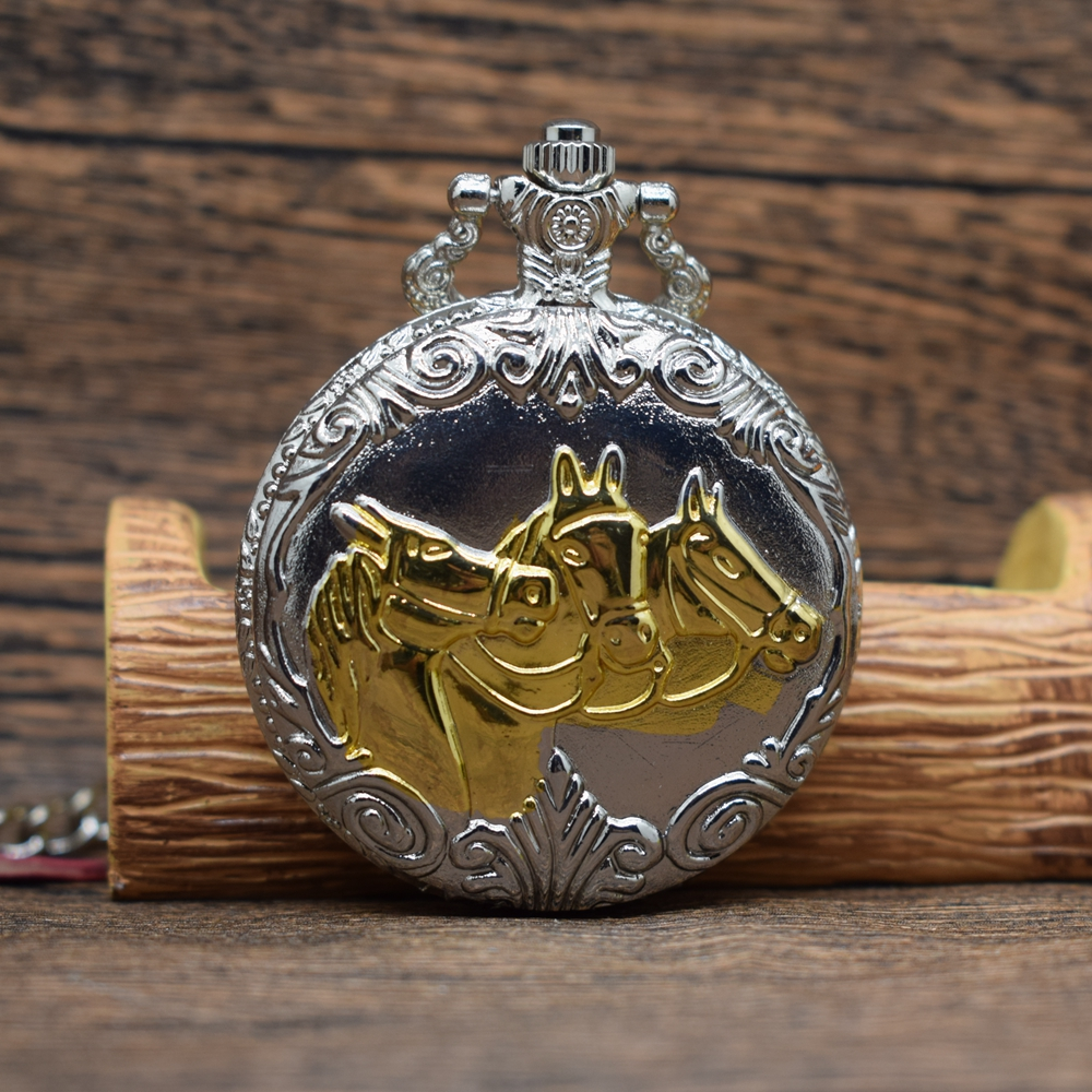 Permalink to Pocket & Fob Watches Silver&Gold Horses Pattern Quartz Pocket Watches With Belt Chain