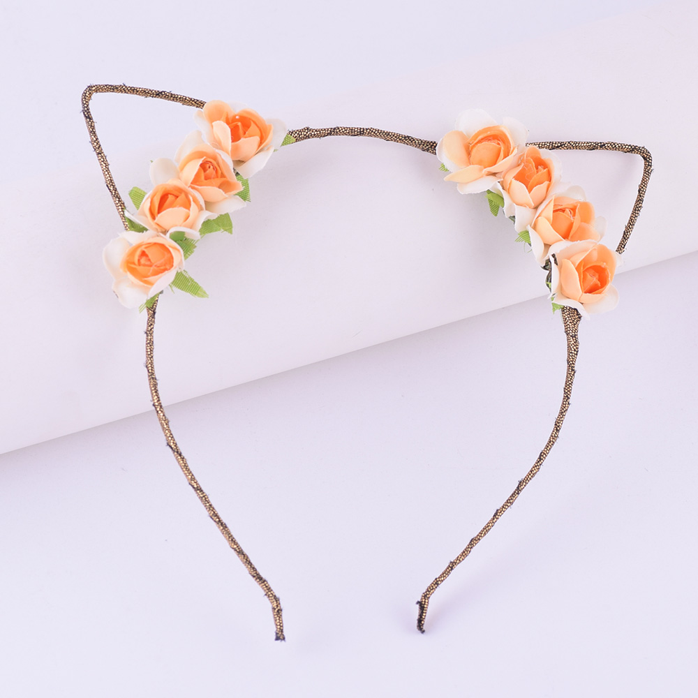 CXADDITIONS Hair Band Accessories Floral Crown Headband Rose Flower Lace Cat Ears Hairband Kids Women Girls Hair Party cosplay metting joura vintage bohemian ethnic tribal flower print stone handmade elastic headband hair band design hair accessories