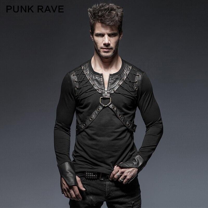 Punk Rave Punk Style Lacing Shoulder Leather Belts Long Sleeve Man font b Shirts b font