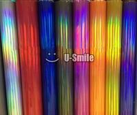 Prima de Oro Púrpura Plata Negro Arco Iris Cromo Envoltura de Vinilo Holográfico Película de la Burbuja Libre Para El Coche que Envuelve Tamaño: 1.52*20 M
