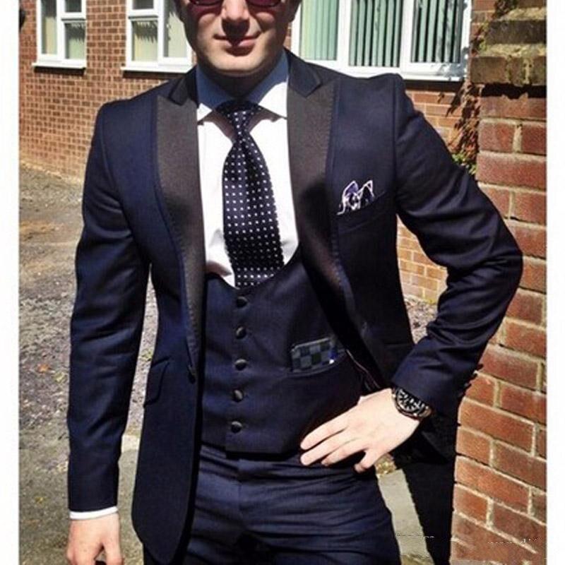 Bleu marine marié Tuxedos pour tenues de mariage 2018 Peaked revers un bouton sur mesure hommes d'affaires costumes veste + gilet + pantalon terno