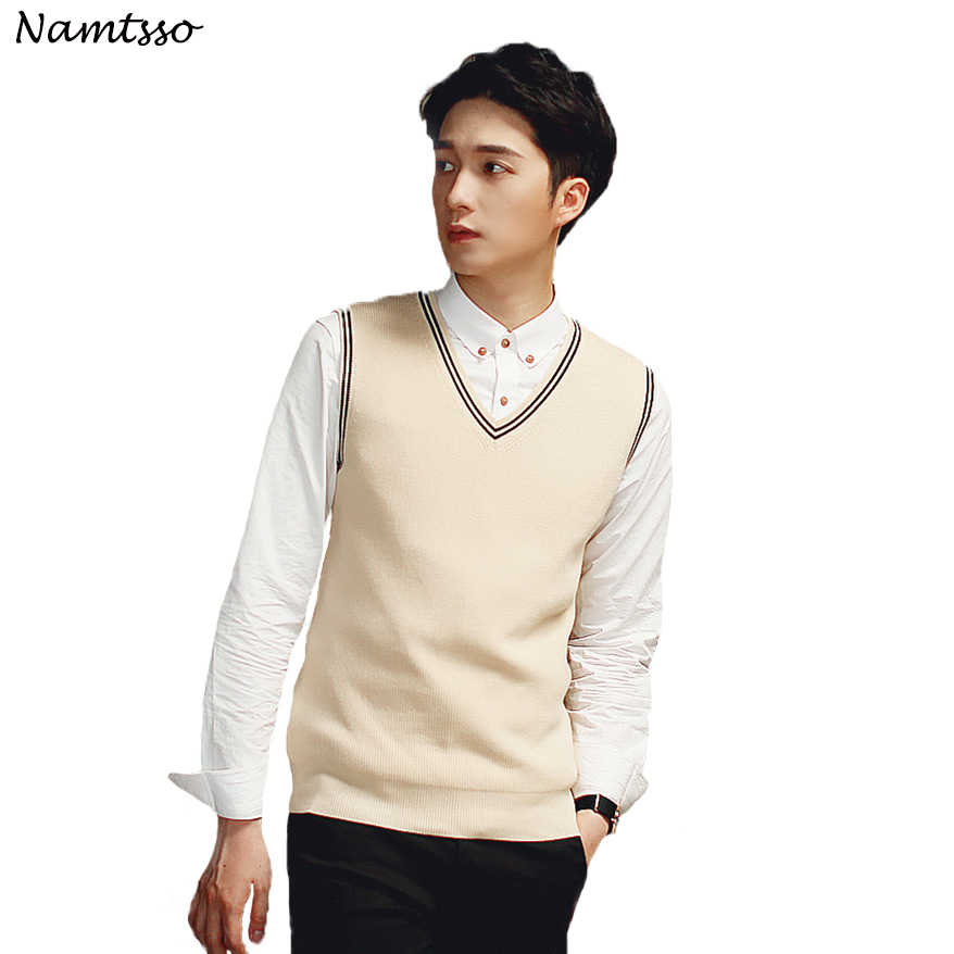 100% Cotton Vest Men 2018 Autumn Winter New British style V-neck Sleeveless Sweater Knitwear Pull Brand base top Clothing 192