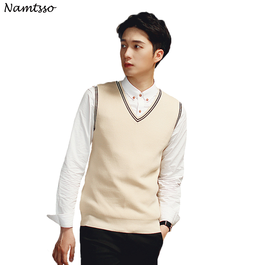 100% Cotton Vest Men 2018 Autumn Winter New British Style V-neck Sleeveless Sweater Knitwear Pull Brand Base Top Clothing 192